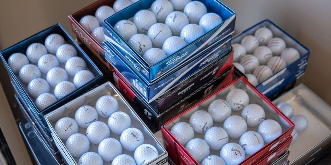 Crates of the best golf balls