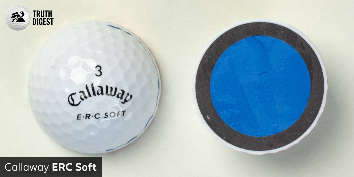 One of the best golf balls cut in half with a core colored blue and grey