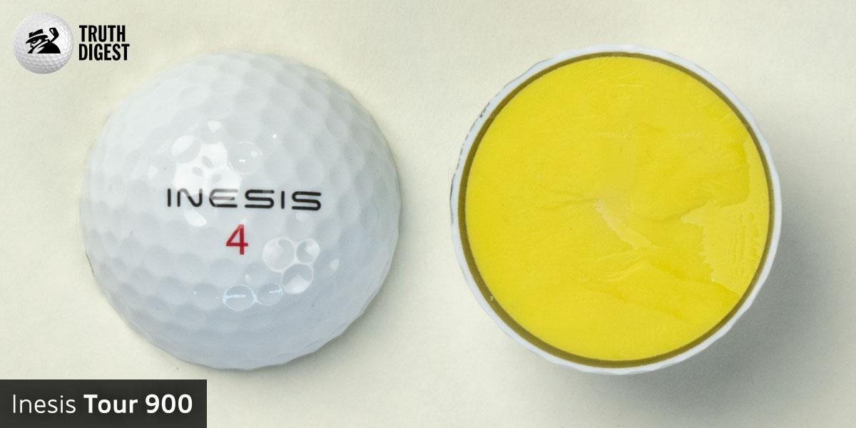 One of the best golf balls cut in half with a core colored yello