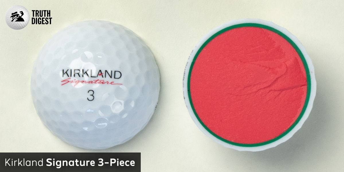 One of the best golf balls cut in half with a core colored salmon and green