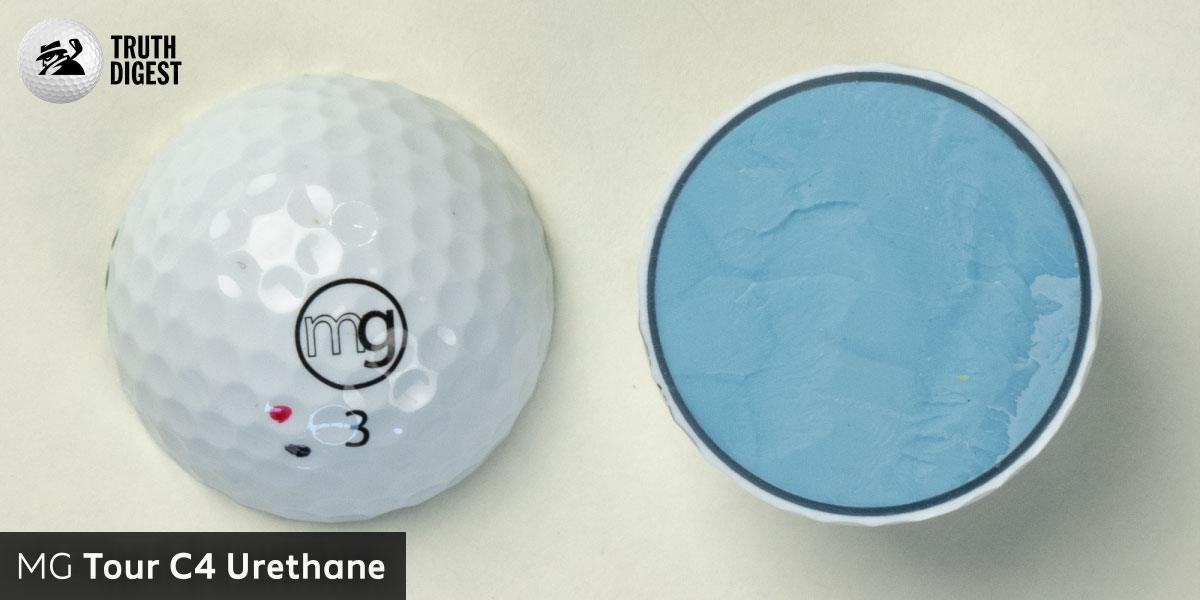 One of the best golf balls cut in half with a core colored light blue