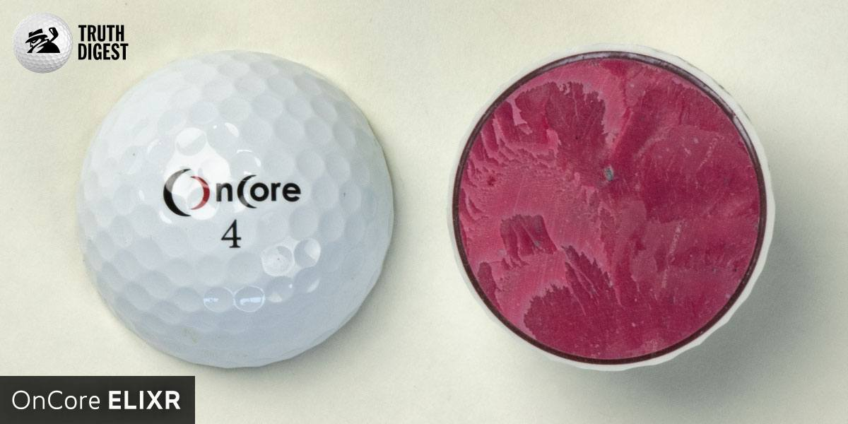 One of the best golf balls cut in half with a core colored magenta