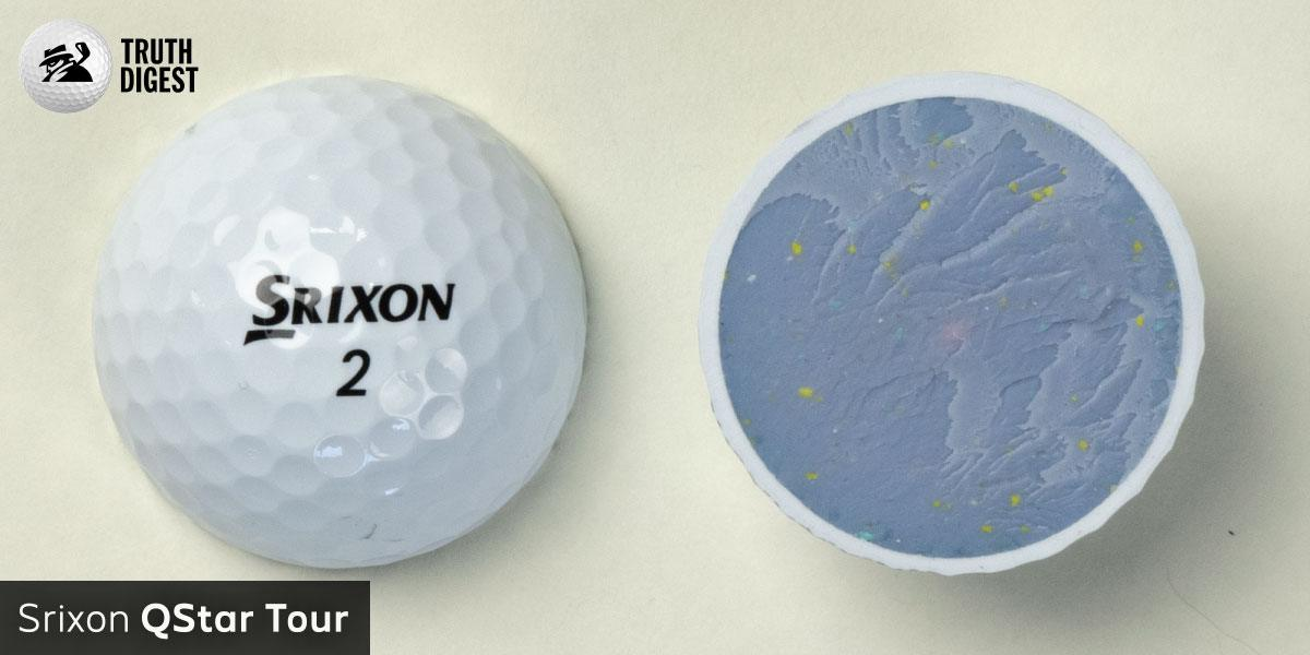 One of the best golf balls cut in half with a core colored pastel purple