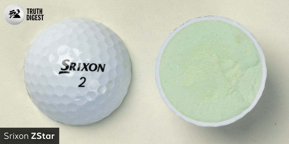 One of the best golf balls cut in half with a core colored mint