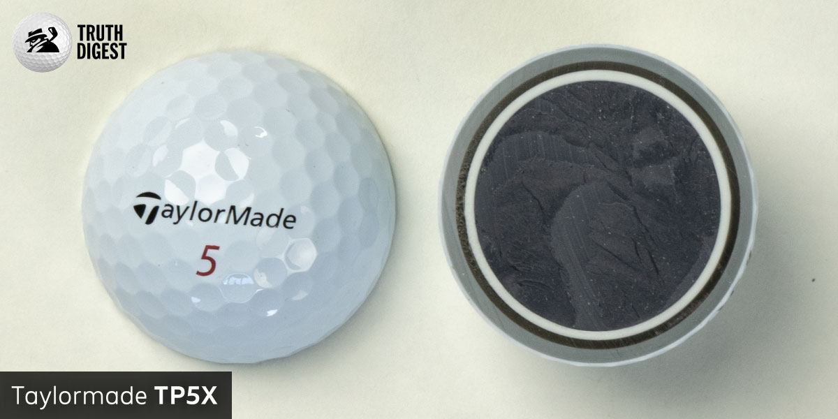 One of the best golf balls cut in half with a core colored black and white