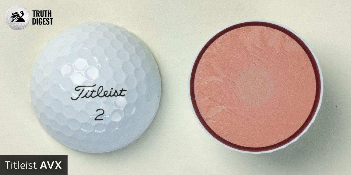 One of the best golf balls cut in half with a core colored light orange