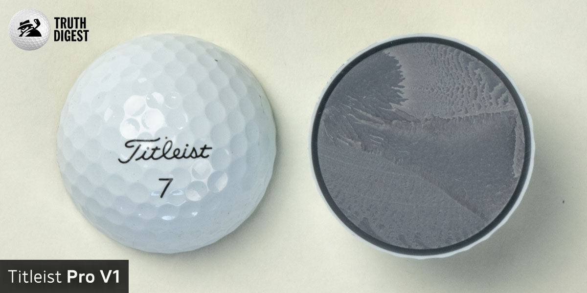 One of the best golf balls cut in half with a core colored light grey