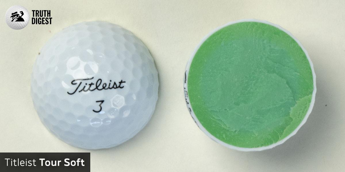 One of the best golf balls cut in half with a core colored light green