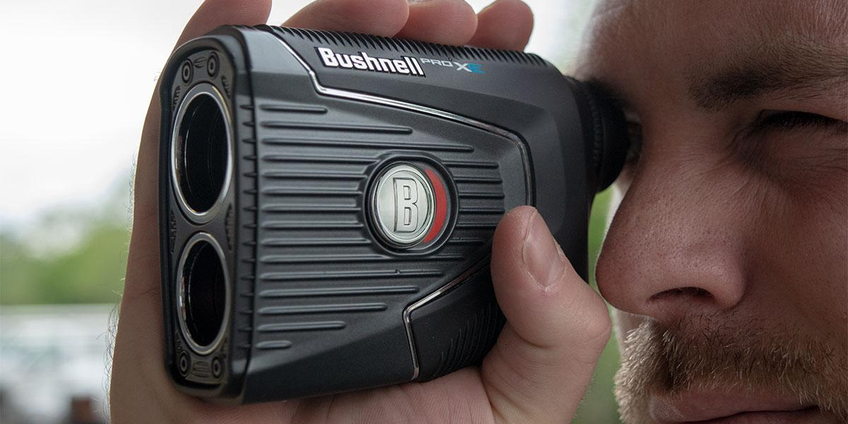 Someone holding one of the best rangefinders