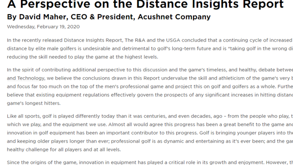 Titleist CEO, David Maher, Responds to the Distance Insights Report