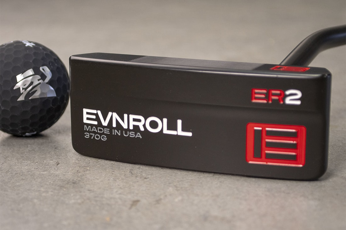 An Evnroll ER2 putter, one of the best blade putters of 2020 on its side