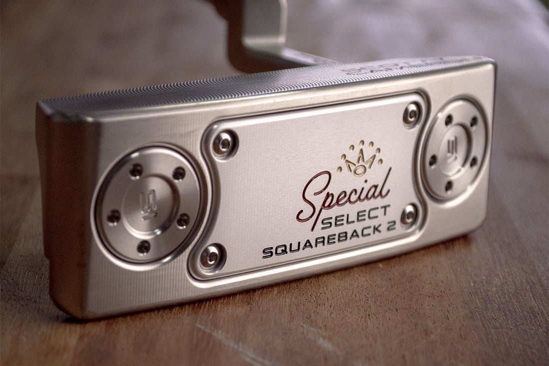 A Scotty Cameron Squareback 2 putter, one of the best blade putters of 2020 on it's side