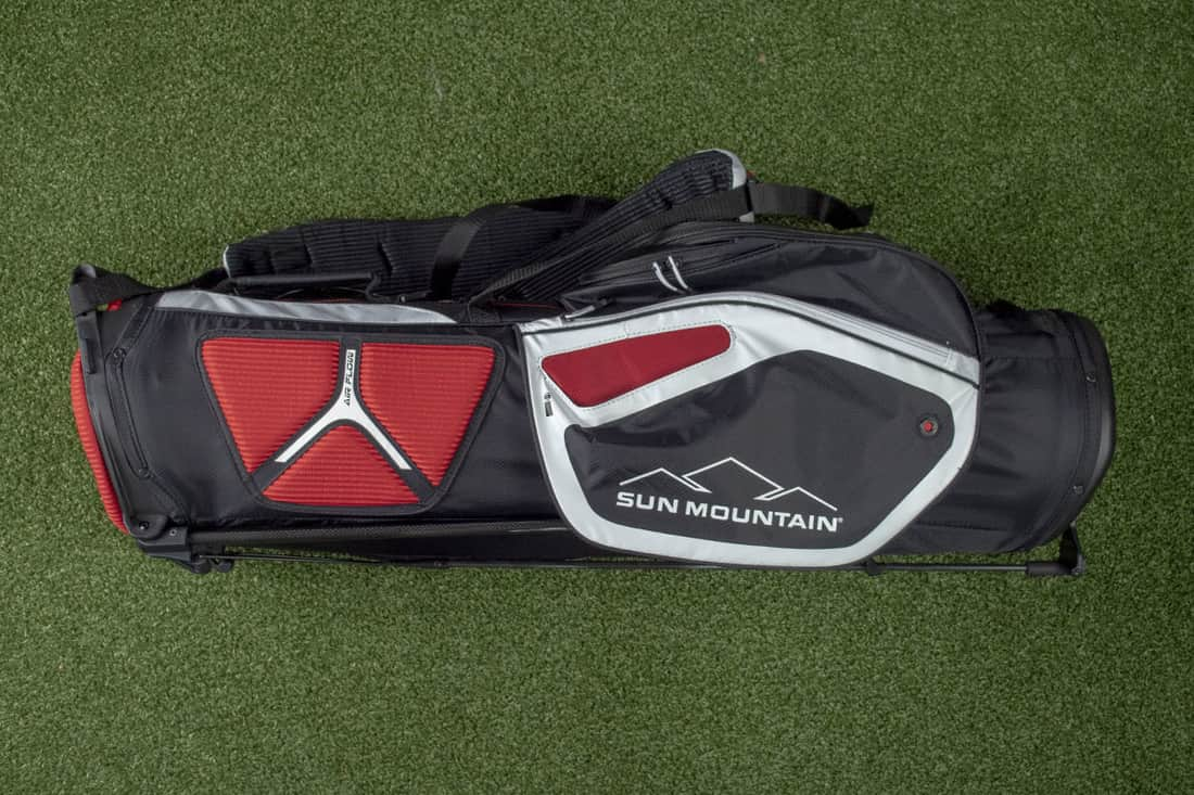 A red accented bag that is one of the best golf stand bags of 2020