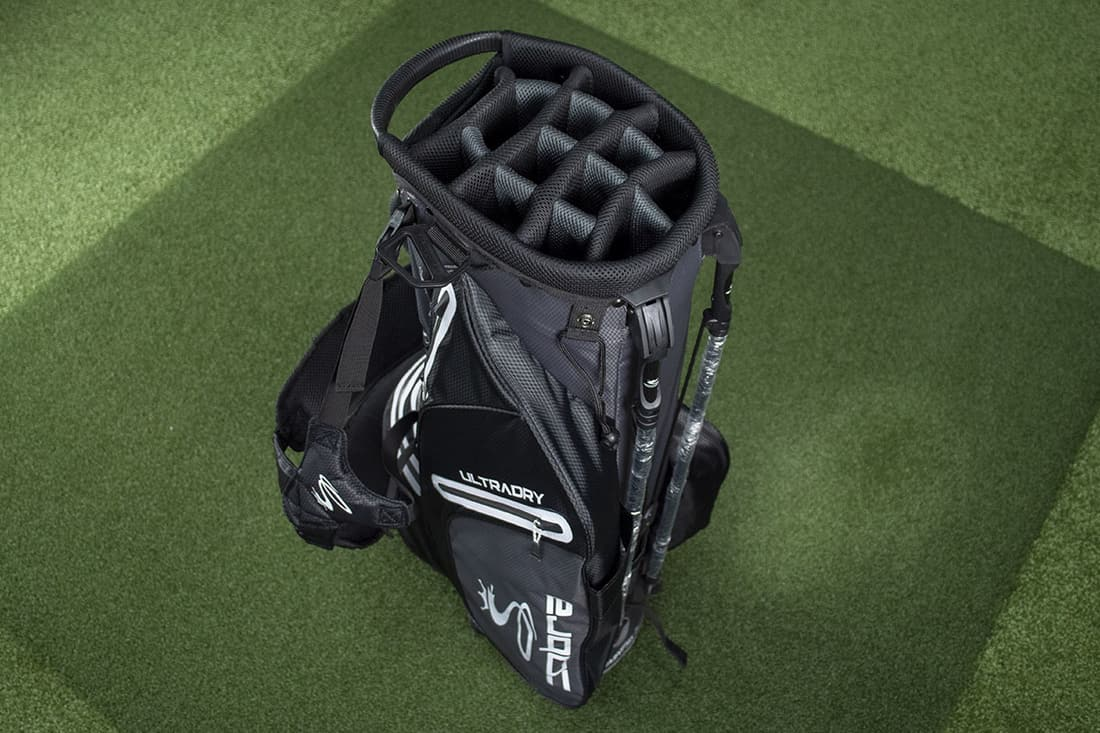 A black bag that is one of the best golf stand bags of 2020