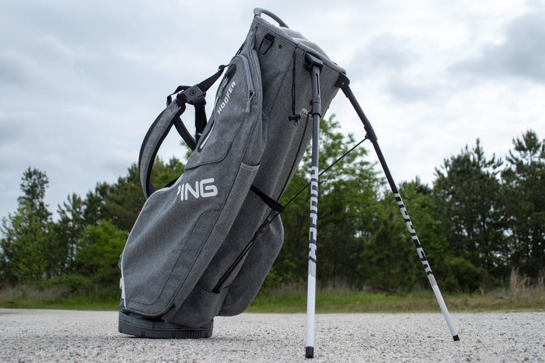 A grey stand bag, that is one of the best golf stand bags of 2020