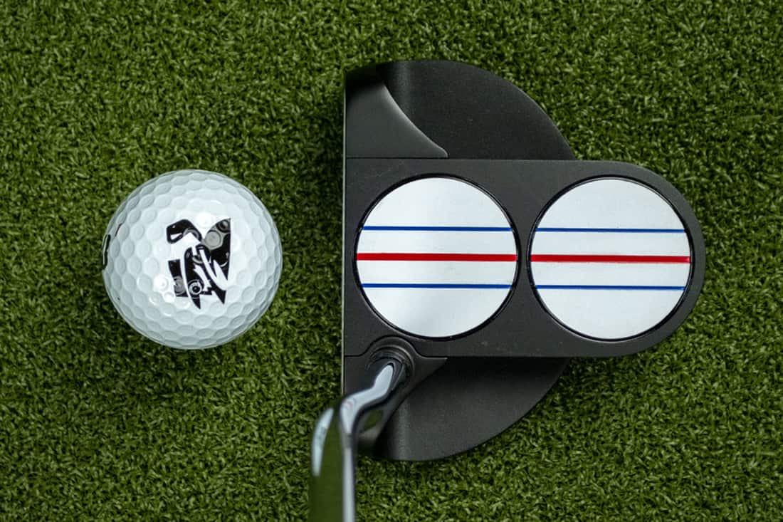 A TT putter, one of the best 2020 mallet putters with a ball