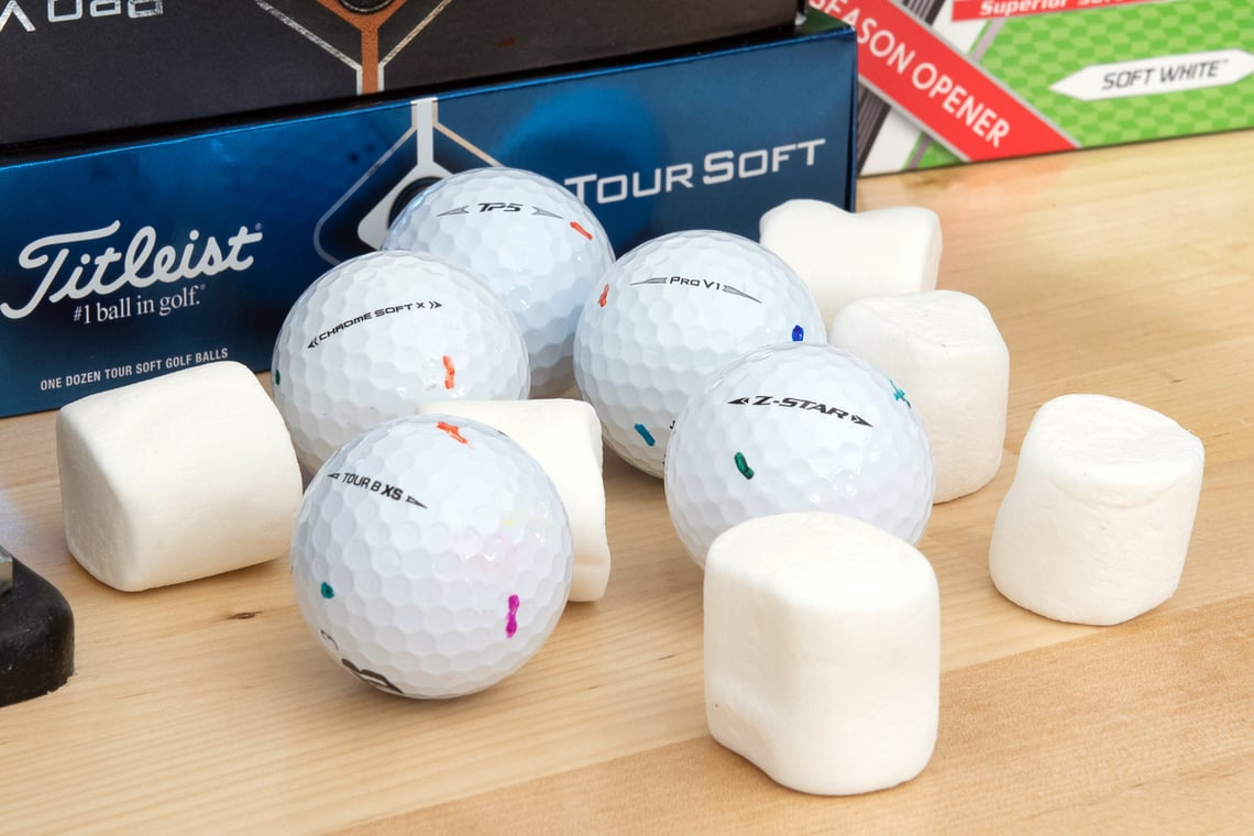 Soft golf balls with marshmallows