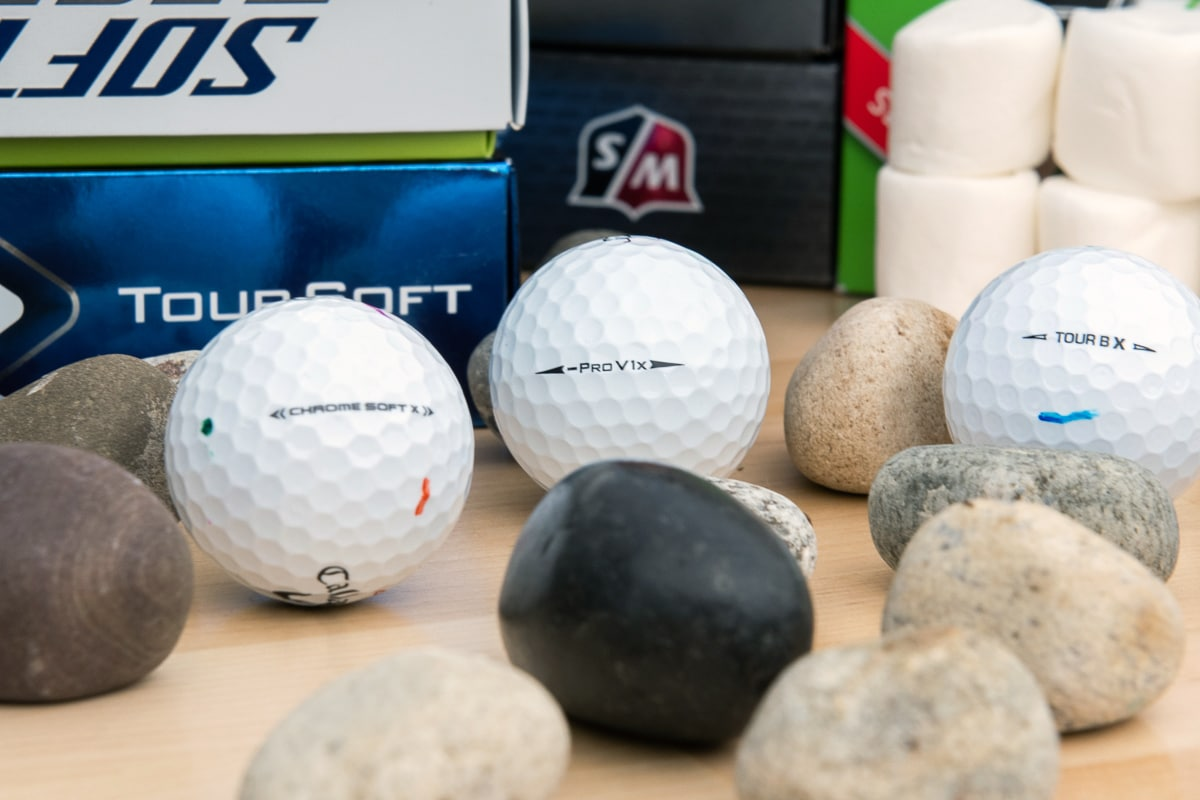 Soft golf balls with marshmallows and rocks