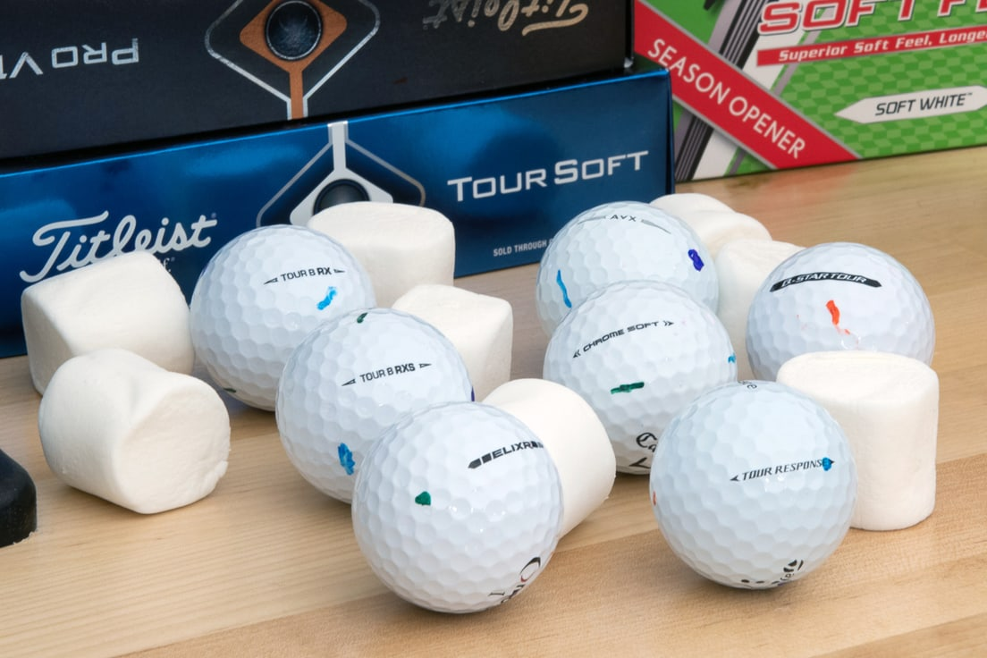 6 Soft golf balls with marshmallows
