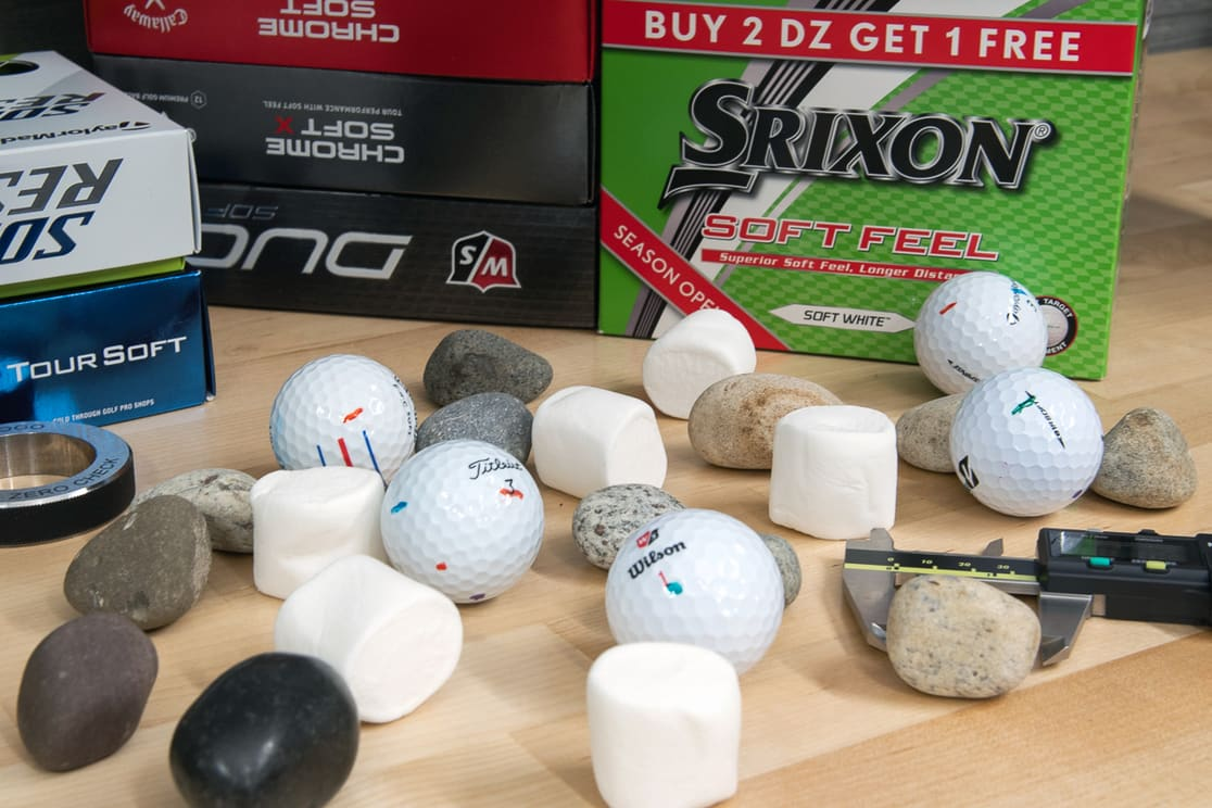 Many soft golf balls with marshmallows and rocks