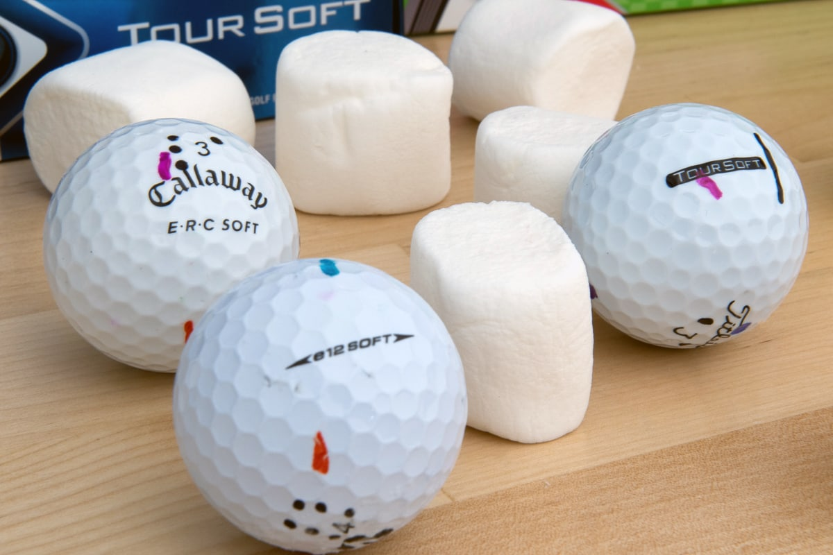 3 soft golf balls with marshmallows