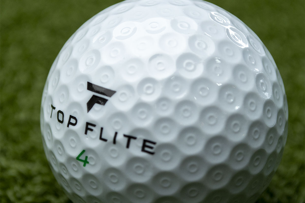 A closeup of the Top Flite Gamer Golf Ball