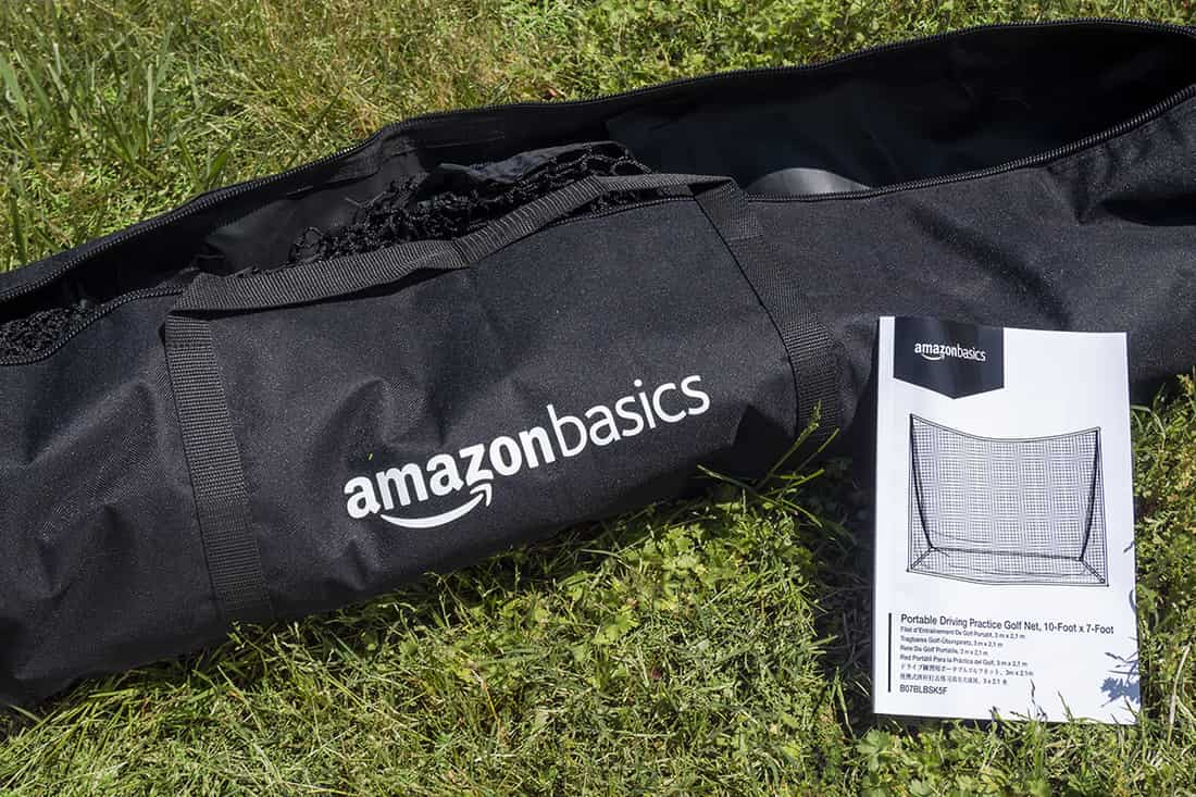 An amazon Basics net, one of the best golf nets