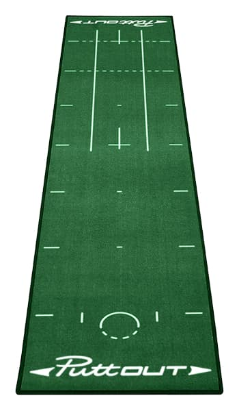 A Puttout mat, one of the best indoor putting mats