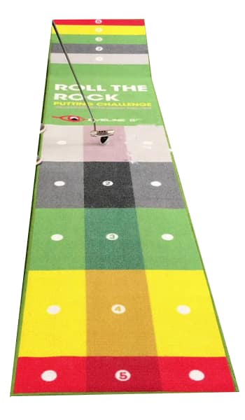 An Eyeline Roll the Rock Mat, one of the best indoor putting mats