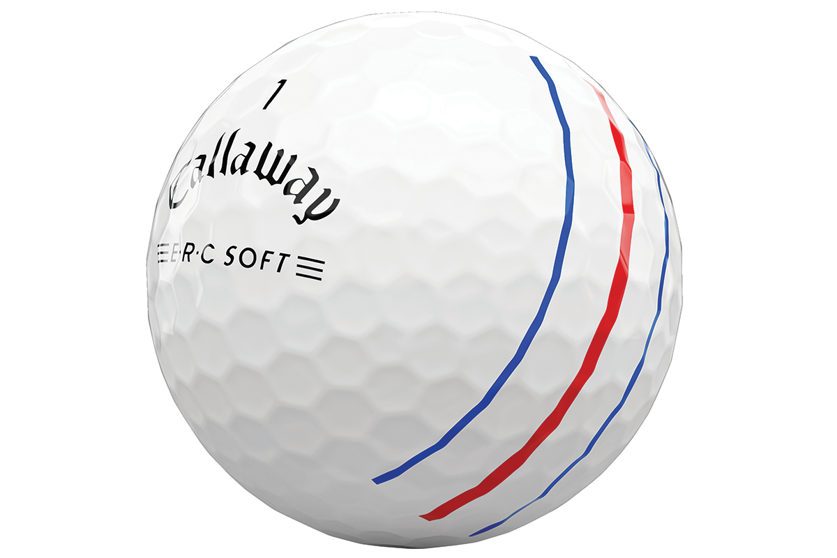 a closeup of the Callaway ERC Soft Golf Ball
