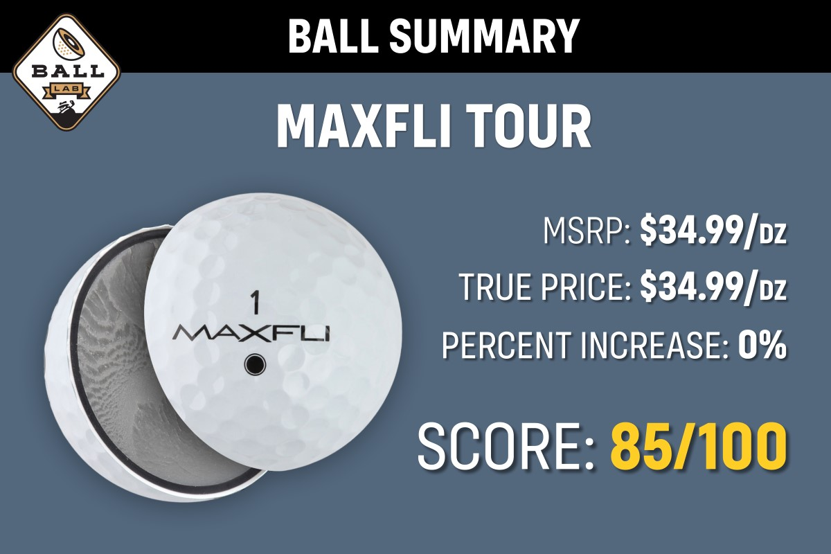 a chart depicting the overall score of 85 for the 2021 Maxfli Tour CG Golf ball