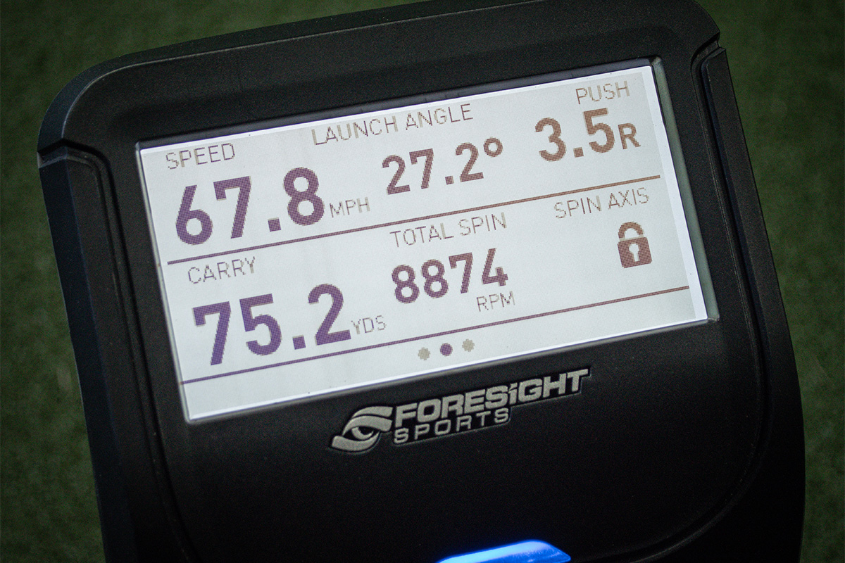 The display screen of the Foresight GC3 / Bushnell Launch Pro launch monitor